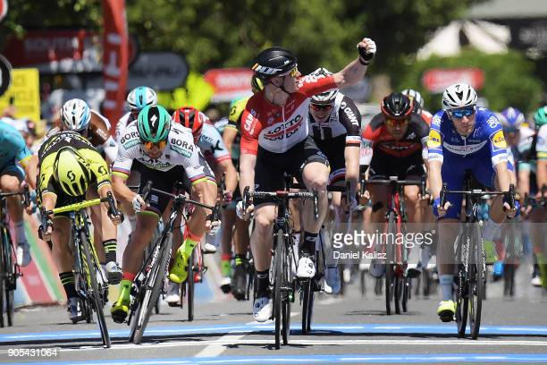 Caleb Ewan of Australia and MitcheltonScott Peter Sagan of Slovakia and BoraHansgrohe and Andre Greipel of Germany and Lotto Soudal compete across...