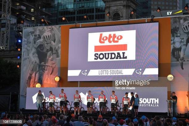 Caleb Ewan of Australia and Team Lotto Soudal / Adam Blythe of Great Britain and Team Lotto Soudal / Tomasz Marczynski of Poland and Team Lotto...
