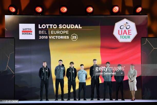 Caleb Ewan of Australia and Team Lotto Soudal / Adam Blythe of Great Britain and Team Lotto Soudal / Adam Hansen of Australia and Team Lotto Soudal /...