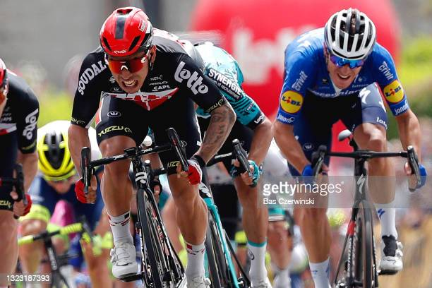Caleb Ewan of Australia and Team Lotto Soudal & Davide Ballerini of Italy and Team Deceuninck - Quick-Step & Giacomo Nizzolo of Italy and Team...