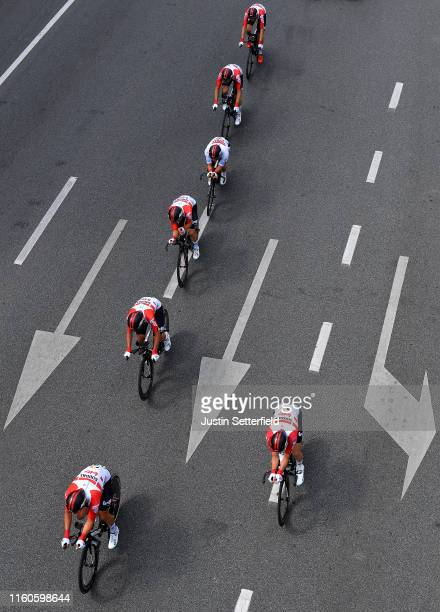 Caleb Ewan of Australia and Team Lotto Soudal White Best Young Rider Jersey / Tiesj Benoot of Belgium and Team Lotto Soudal / Jasper De Buyst of...