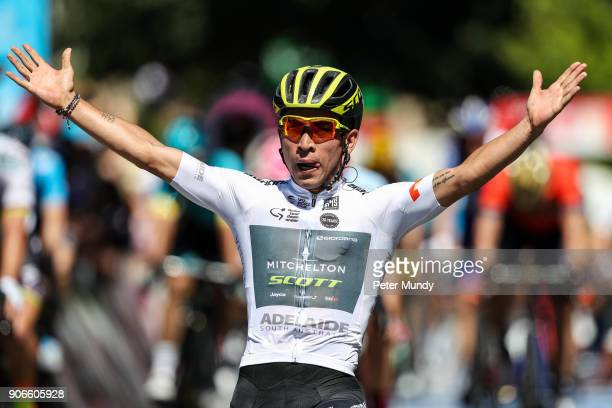 Caleb Ewan of MitcheltonSCOTT wins Stage two from Unley to Stirling to become the new Santos Ochre Leader's Jersey at the Santos Tour Down Under on...