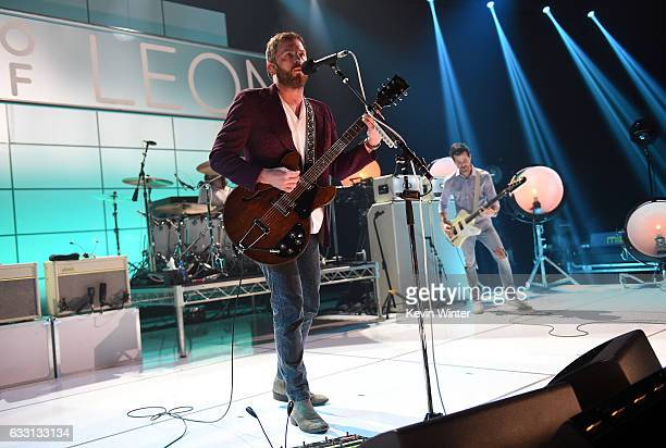 Caleb Followill and Jared Followill of Kings Of Leon perform on stage on ATT at iHeartRadio Theater LA on January 30 2017 in Burbank California
