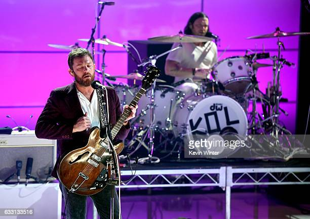 Caleb Followill and Nathan Followill of Kings Of Leon perform on stage on ATT at iHeartRadio Theater LA on January 30 2017 in Burbank California