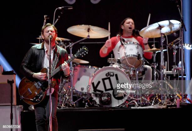 Caleb Followill and Nathan Followill of Kings of Leon perform onstage during the 2017 iHeartRadio Music Festival at TMobile Arena on September 23...