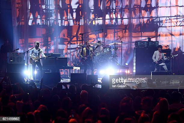 Caleb Followill Jared Followill Nathan Followill and Matthew Followill of Kings of Leon perform on stage at the MTV Europe Music Awards 2016 on...