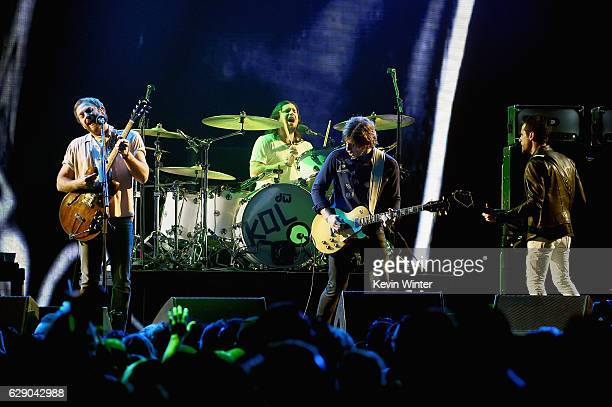 Caleb Followill Nathan Followill Matthew Followill and Jared Followill of Kings of Leon perform onstage at 1067 KROQ Almost Acoustic Christmas 2016...