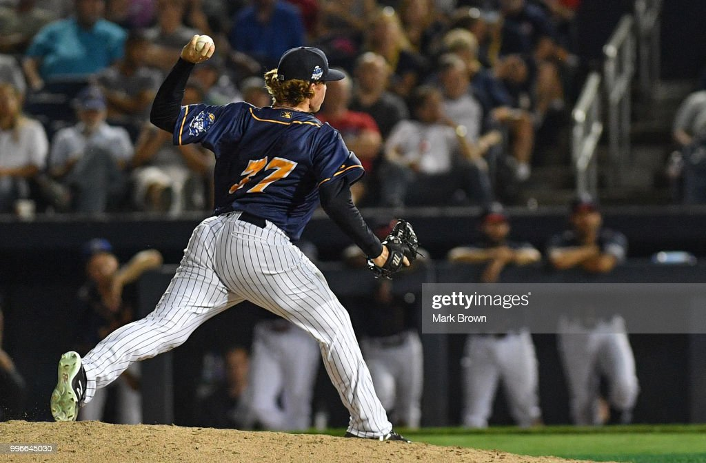 Caleb Frare #37 pitches in the eighth inning during the 2018 Eastern League All Star Game at Arm & Hammer Park on July 11, 2018 in Trenton, New Jersey.