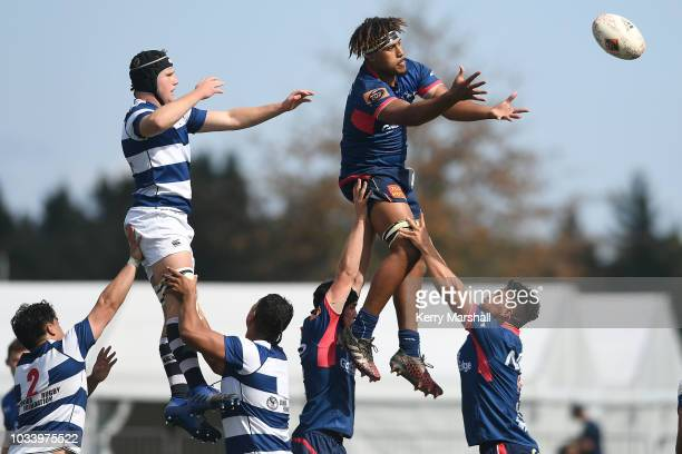 Caleb Havili of Tasman reaches for the ball in a lineout during the Jock Hobbs U19 Rugby Tournament on September 15 2018 in Taupo New Zealand