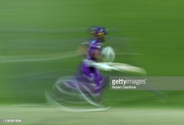 Caleb Jewell of the Hobart Hurricanes runs during the Big Bash League match between the Hobart Hurricanes and the Adelaide Strikers at UTAS Stadium...