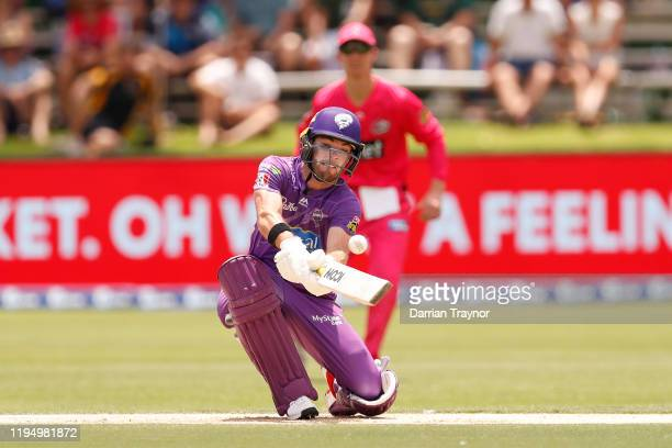 Caleb Jewell of the Hurricanes bats during the Big Bash League match between the Hobart Hurricanes and the Sydney Sixers at Traeger Park on December...
