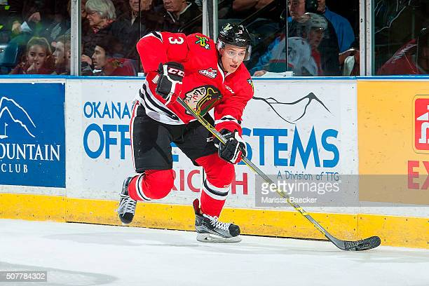 Caleb Jones of Portland Winterhawks skates with the puck against the Kelowna Rockets on January 29 2016 at Prospera Place in Kelowna British Columbia...