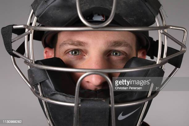 Caleb Joseph of the Arizona Diamondbacks poses for a portrait during photo day at Salt River Fields at Talking Stick on February 20 2019 in...