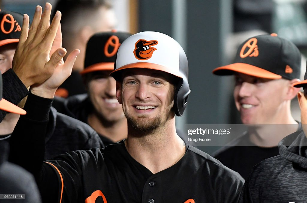 Caleb Joseph #36 of the Baltimore Orioles celebrates with teammates after scoring in the sixth inning against the Detroit Tigers at Oriole Park at Camden Yards on April 27, 2018 in Baltimore, Maryland.