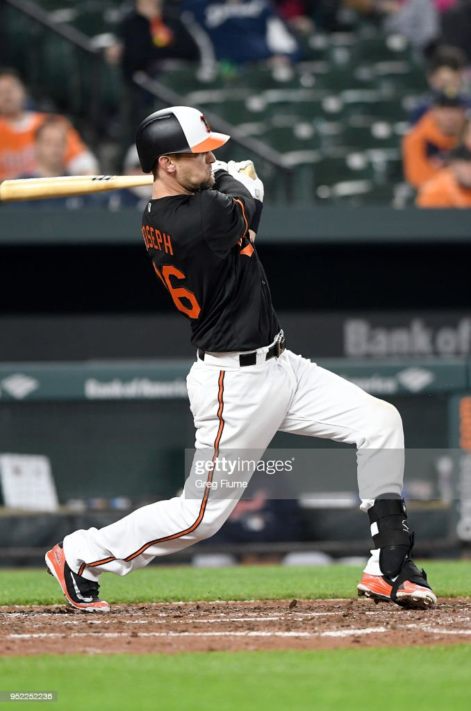 Caleb Joseph #36 of the Baltimore Orioles hits a double in the sixth inning against the Detroit Tigers at Oriole Park at Camden Yards on April 27, 2018 in Baltimore, Maryland.