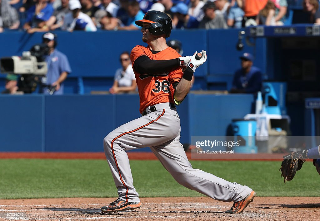 Caleb Joseph #36 of the Baltimore Orioles hits an RBI single in the seventh inning during MLB game action against the Toronto Blue Jays on September 5, 2015 at Rogers Centre in Toronto, Ontario, Canada.
