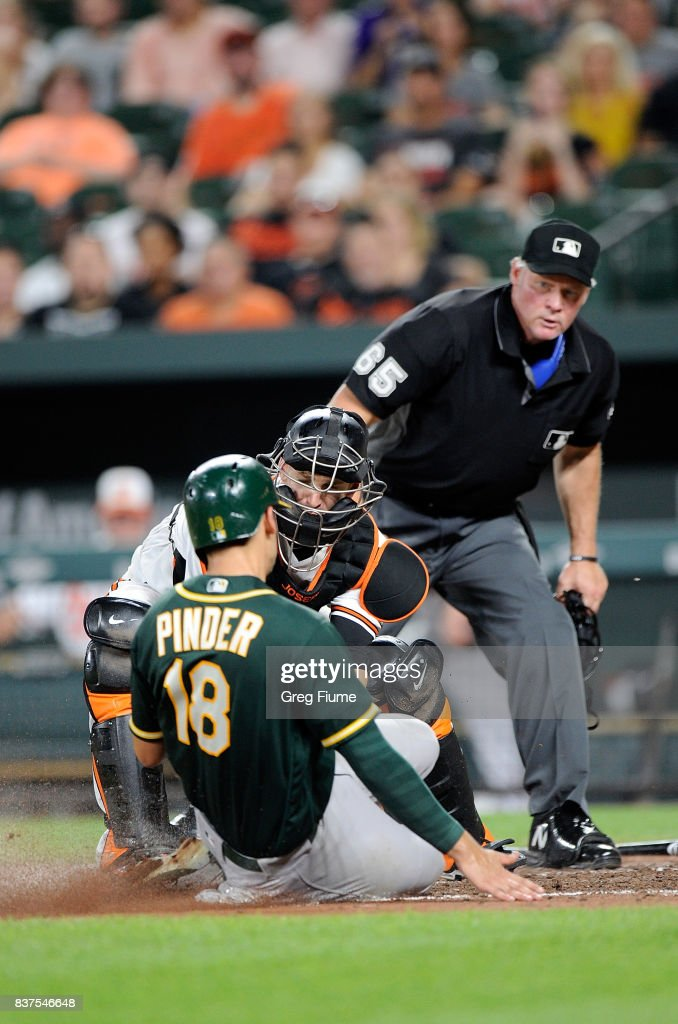 Caleb Joseph #36 of the Baltimore Orioles tags out Chad Pinder #18 of the Oakland Athletics in the eighth inning at Oriole Park at Camden Yards on August 22, 2017 in Baltimore, Maryland.