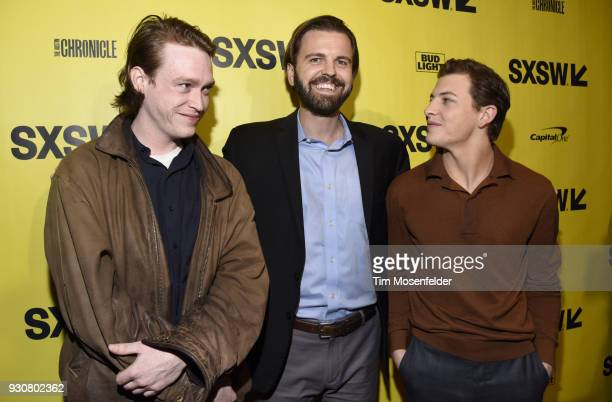 Caleb Landry Jones AJ Edwards and Tye Sheridan attend the premiere of Friday's Child at the Paramount Theatre on March 11 2018 in Austin Texas