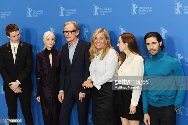 "Caleb Landry Jones, Andrea Riseborough, Bill Nighy, Lone Scherfig, Zoe Kazan and Tahar Rahim pose at the ""The Kindness Of Strangers"" photocall during..."