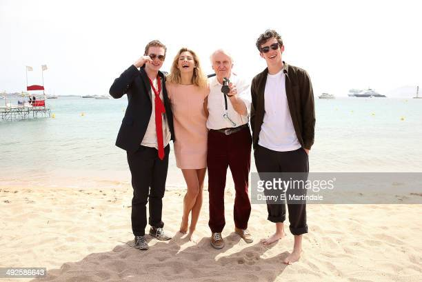 Caleb Landry Jones Callum Turner John Boorman and Tamsin Egerton attend the 'Queen Country' photocall at the 67th Annual Cannes Film Festival on May...