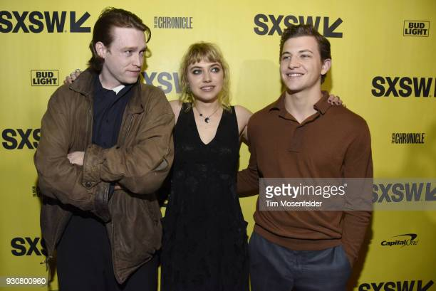 Caleb Landry Jones Imogen Poots and Tye Sheridan attend the premiere of Friday's Child at the Paramount Theatre on March 11 2018 in Austin Texas