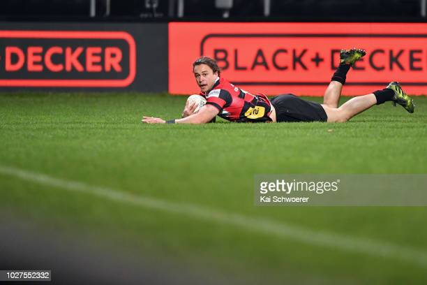 Caleb Makene of Canterbury dives over to score a try during the round four Mitre 10 Cup match between Canterbury and Manawatu at AMI Stadium on...