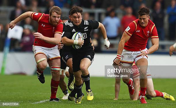 Caleb Makene of New Zealand makes a break during the World Rugby U20 Championship match between New Zealand and Wales at AJ Bell Stadium on June 15...
