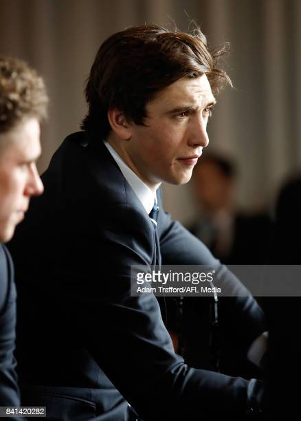Caleb Marchbank of the Blues looks on during the 2017 NAB AFL Rising Star awards at Peninsula at Atlantic on September 01 2017 in Melbourne Australia