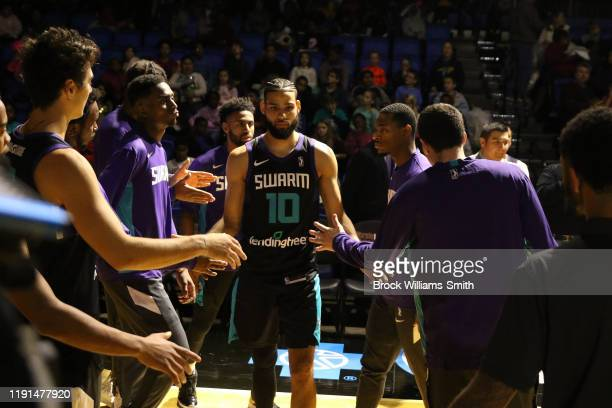 Caleb Martin of the Greensboro Swarm gets introduced before the game against the Westchester Knicks at The Fieldhouse on November 13, 2019 in...