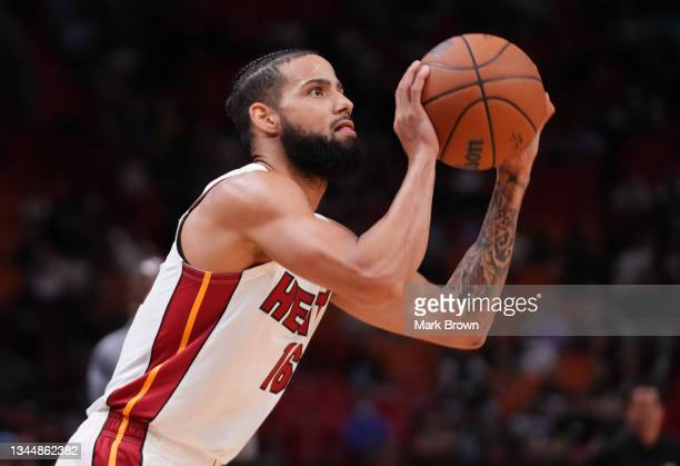 Caleb Martin of the Miami Heat shoots the ball against the Atlanta Hawks in the fourth quarter of preseason action at FTX Arena on October 04, 2021...