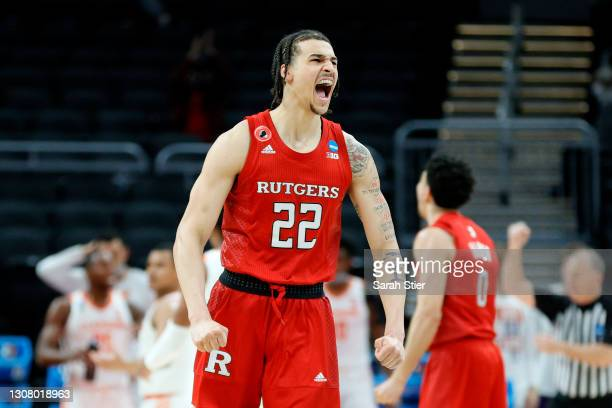 Caleb McConnell of the Rutgers Scarlet Knights reacts after a play in the first half against the Clemson Tigers in the first round game of the 2021...