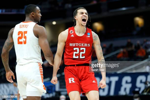 Caleb McConnell of the Rutgers Scarlet Knights reacts in the second half against the Clemson Tigers in the first round game of the 2021 NCAA Men's...