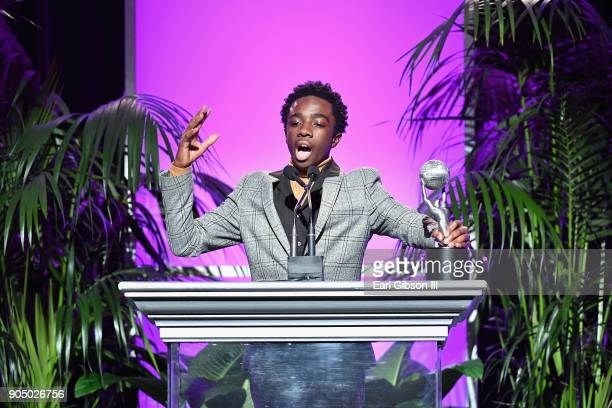 Caleb McLaughlin accepts award for Outstanding Yout/Child Actor at the 49th NAACP Image Awards NonTelevised Awards Dinner at the Pasadena Conference...