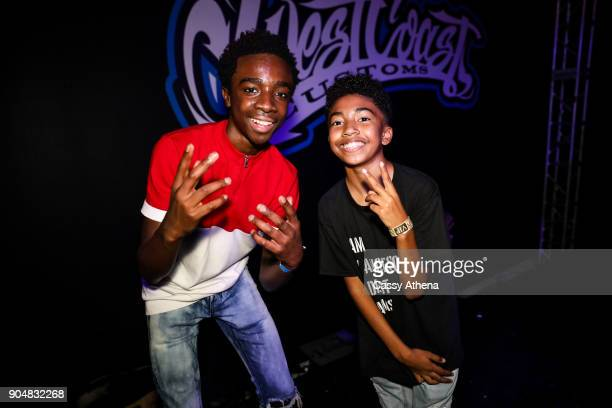 Caleb McLaughlin and Miles Brown celebrate Shareef O'Neal's 18th birthday party at West Coast Customs on January 13 2018 in Burbank California