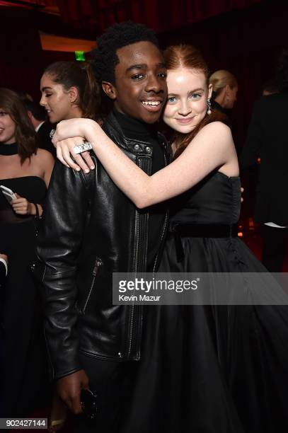 Caleb McLaughlin and Sadie Sink attend the Netflix Golden Globes after party at Waldorf Astoria Beverly Hills on January 7 2018 in Beverly Hills...