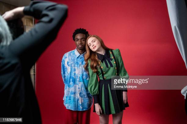 """Caleb McLaughlin and Sadie Sink attend the Season 3 """"Stranger Things"""" press junket at The London Hotel on June 27, 2019 in West Hollywood, California."""