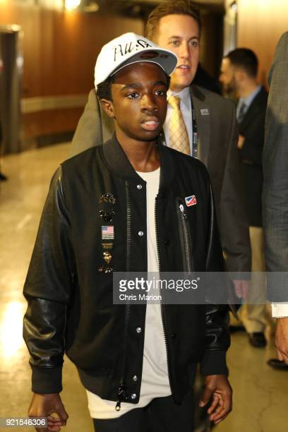 Caleb McLaughlin arrives to the arena during the NBA AllStar Game as a part of 2018 NBA AllStar Weekend at STAPLES Center on February 18 2018 in Los...