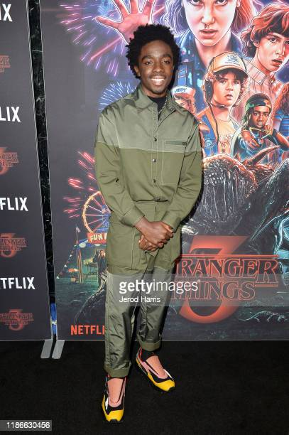 """Caleb McLaughlin attends a photocall for Netflix's """"Stranger Things"""" Season 3 at Linwood Dunn Theater at the Pickford Center for Motion Study on..."""