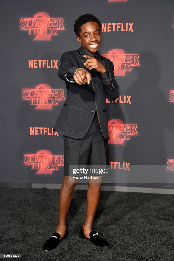 Caleb McLaughlin attends the premiere of Netflix's 'Stranger Things' Season 2 at Regency Bruin Theatre on October 26, 2017 in Los Angeles, California.