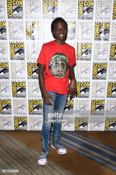 Caleb McLaughlin attends the 'Stranger Things' press conference at ComicCon International 2017 on July 22 2017 in San Diego California
