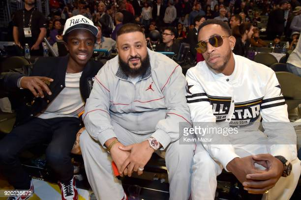 Caleb McLaughlin DJ Khaled and Ludacris attend the 67th NBA AllStar Game Team LeBron Vs Team Stephen at Staples Center on February 18 2018 in Los...