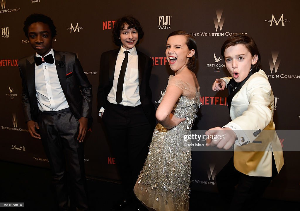Caleb McLaughlin, Finn Wolfhard, Millie Bobby Brown and Noah Schnapp attend The Weinstein Company and Netflix Golden Globe Party, presented with FIJI Water, Grey Goose Vodka, Lindt Chocolate, and Moroccanoil at The Beverly Hilton Hotel on January 8, 2017 in Beverly Hills, California.