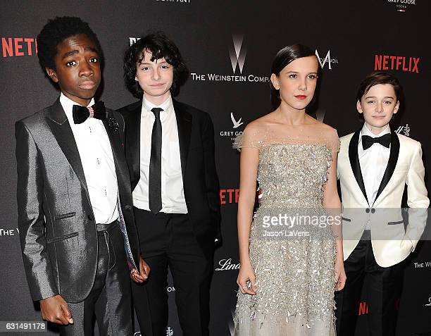Caleb McLaughlin Finn Wolfhard Millie Bobby Brown and Noah Schnapp attend the 2017 Weinstein Company and Netflix Golden Globes after party on January...