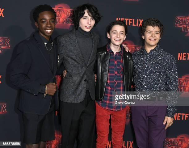 "Caleb McLaughlin, Finn Wolfhard, Noah Schnapp, and Gaten Matarazzo arrives at the Premiere Of Netflix's ""Stranger Things"" Season 2 at Regency Bruin..."