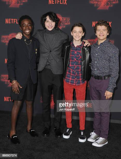 Caleb McLaughlin Finn Wolfhard Noah Schnapp and Gaten Matarazzo arrive at the premiere of Netflix's 'Stranger Things' Season 2 at Regency Bruin...