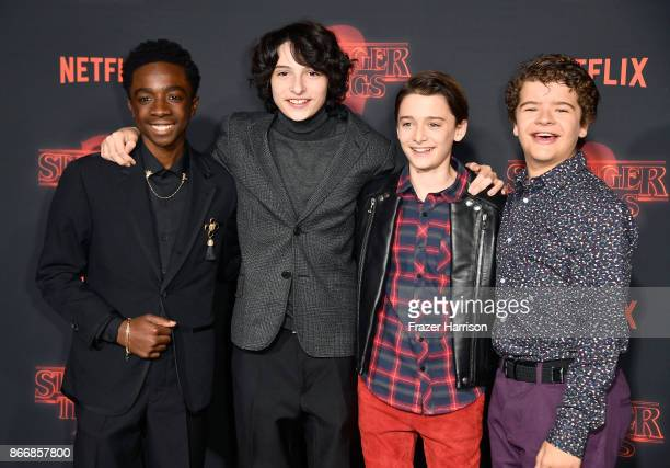 Caleb McLaughlin Finn Wolfhard Noah Schnapp and Gaten Matarazzo attend the premiere of Netflix's Stranger Things Season 2 at Regency Bruin Theatre on...