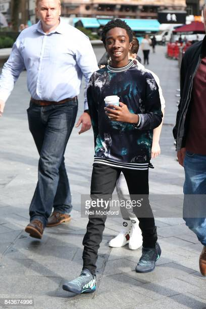 Caleb McLaughlin from 'Stranger Things' outside the Global Radio Studios on September 7, 2017 in London, England.