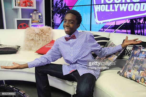 """September 6: Caleb McLaughlin from """"Stranger Things"""" visits the Young Hollywood Studio on September 6, 2016 in Los Angeles, California. ."""
