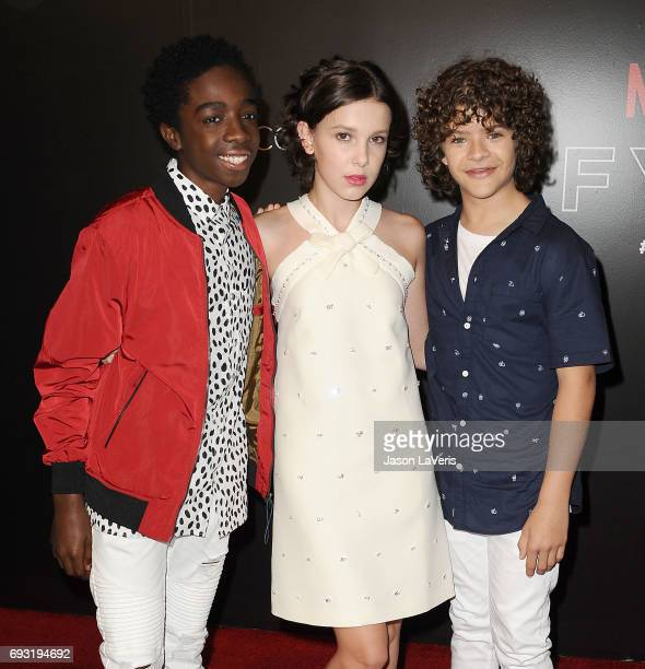 Caleb McLaughlin Millie Bobby Brown and Gaten Matarazzo attend the 'Stranger Things' FYC event at Netflix FYSee Space on June 6 2017 in Beverly Hills...