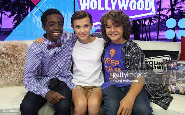 Caleb McLaughlin Millie Bobby Brown and Gaten Matarazzo from 'Stranger Things' at the Young Hollywood Studio on September 6 2016 in Los Angeles...